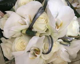 Bridesmaids posy of Phalonopsis orchids and avalanche roses with curled silver grasses