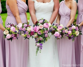 Bridesmaids bouquets of Peonies, amarando roses, alchemilla & stocks