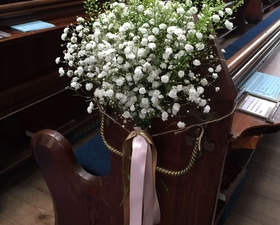 pew ends of gypsophila