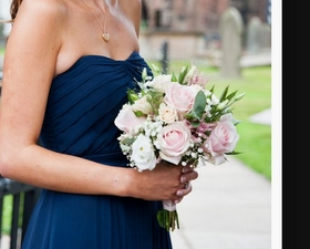 Bridesmaid bouquet of Sweet avalanche roses, eucalyptus & lizzianthus