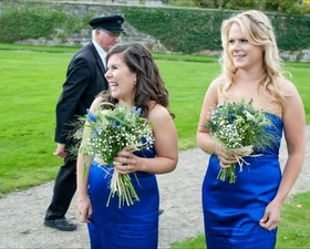 Bridesmaids bouqeuts of Grasses, gensia, gypsophila & thistle