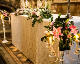 church dressing with candelabras